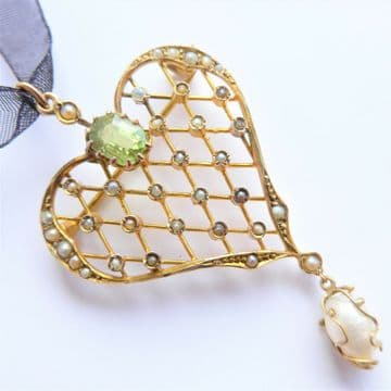 Antique Heart Pendant 9ct Gold Pearl & Peridot Pendant Brooch 5cm x 3cm 9ct GOLD